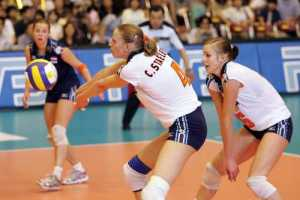 volleyball team drills serve receive