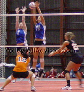 Volleyball Blocking Skills. Middle blocker joing outside blocker to form a double block.